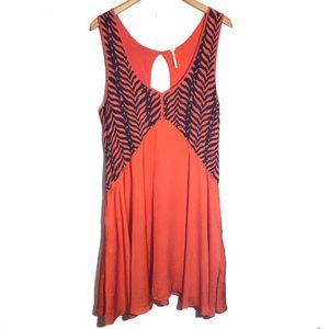 Free People Swing Boho Dress Lined Large Orange